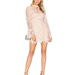 Free People Deco Lace Mini Dress in Ivory Combo M